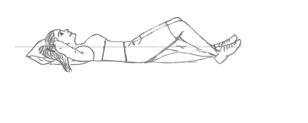 Bilde viser at man skal ligge flatt på gulvet, armene bak nakken og med bøy i knærne