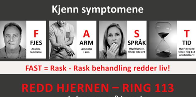 Dette er en informasjonsplakat som viser kjente symptomer på hjerneblødning. Fjes, arm, språki og tid. Illustrasjonsbilde.