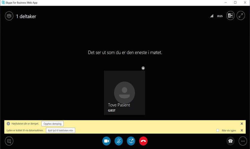 Bilde av en svart PC-skjerm hvor det står at du er eneste i møte. Dette er møtebildet på skype.